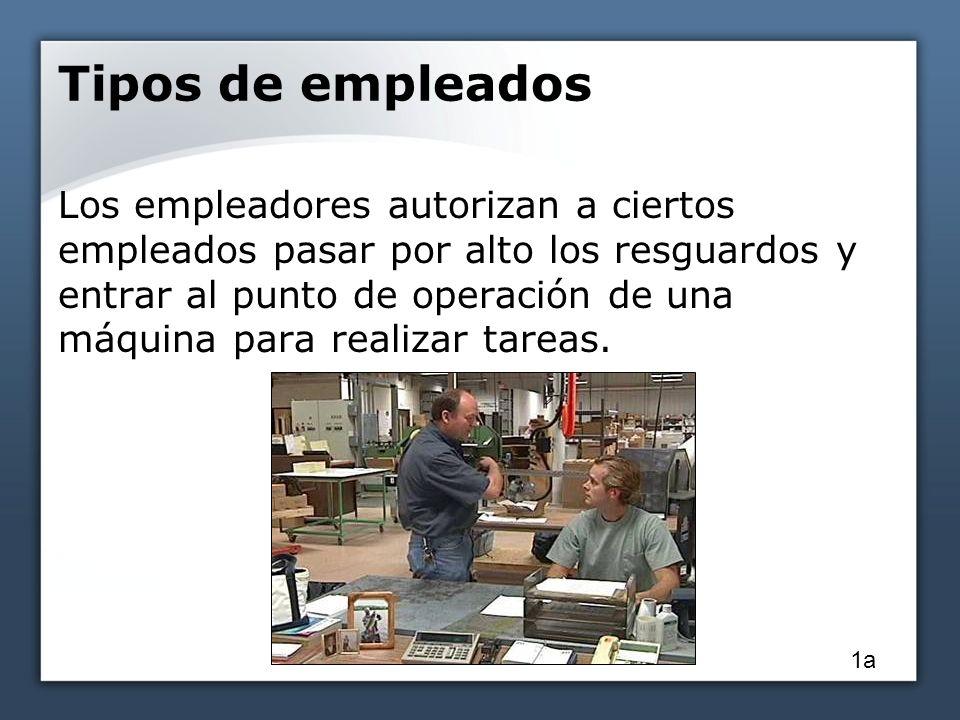Tipos de empleados Un empleado autorizado: Un empleado responsable de bloquear y rotular máquinas antes de revisarlas o mantenerlas.
