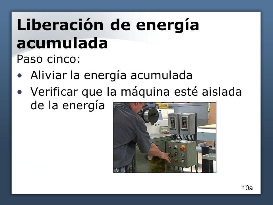 Liberación de energía acumulada Paso cinco: Aliviar la energía acumulada Verificar que la máquina esté aislada de la energía 10a