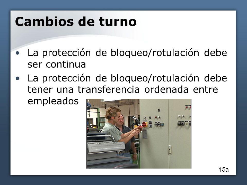 Cambios de turno La protección de bloqueo/rotulación debe ser continua La protección de bloqueo/rotulación debe tener una transferencia ordenada entre empleados 15a