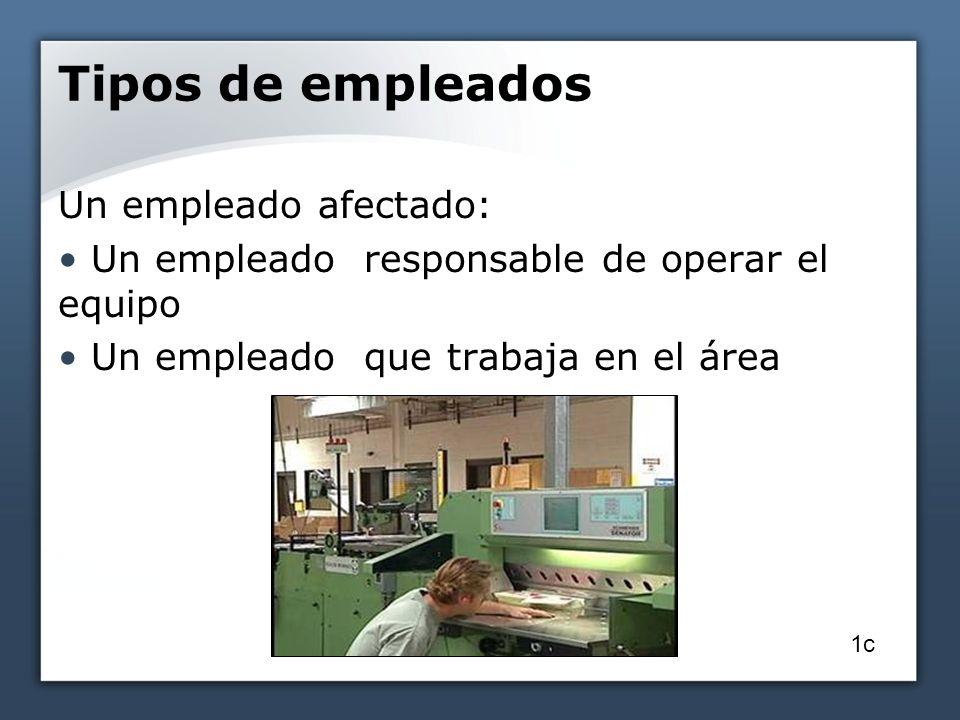 Tipos de empleados Un empleado afectado: Un empleado responsable de operar el equipo Un empleado que trabaja en el área 1c