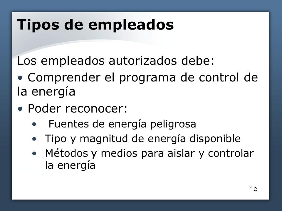 Tipos de empleados Los empleados autorizados debe: Comprender el programa de control de la energía Poder reconocer: Fuentes de energía peligrosa Tipo y magnitud de energía disponible Métodos y medios para aislar y controlar la energía 1e