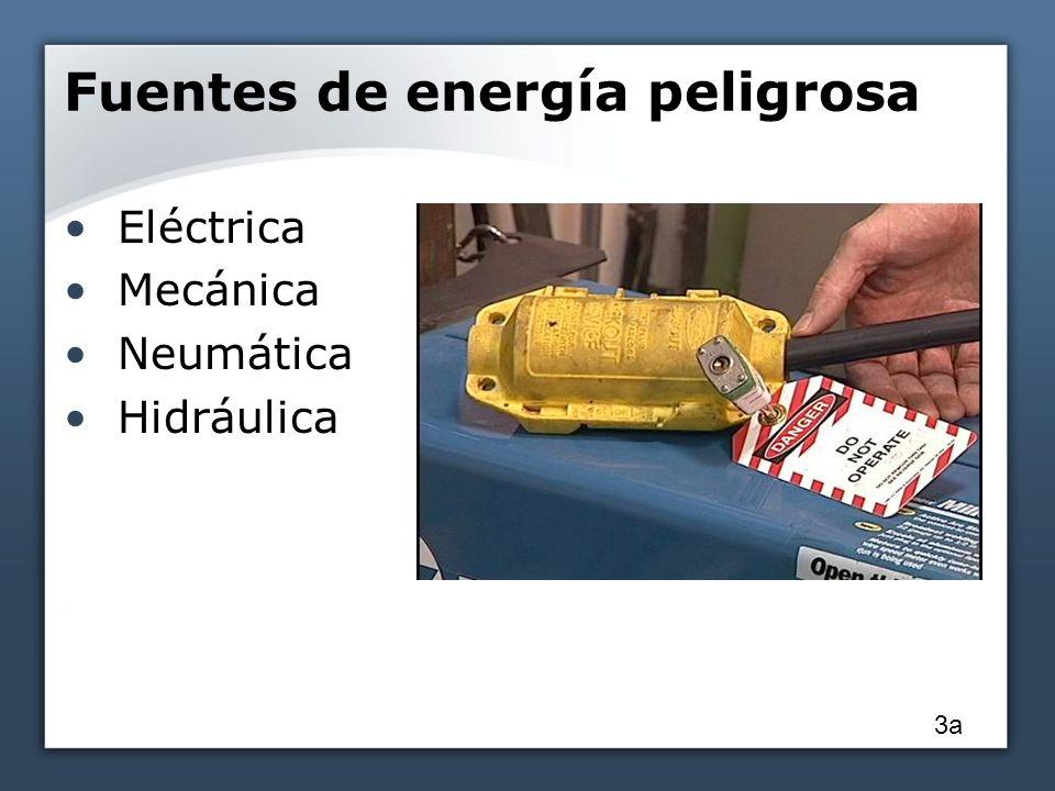 Fuentes de energía peligrosa Eléctrica Mecánica Neumática Hidráulica 3a