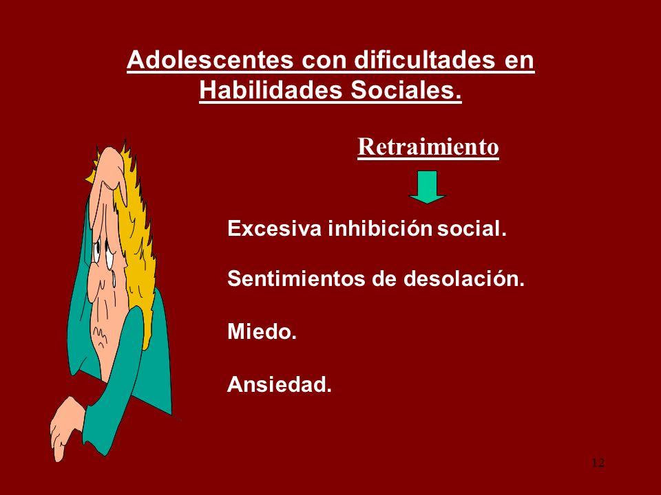 12 Adolescentes con dificultades en Habilidades Sociales. Retraimiento Excesiva inhibición social. Sentimientos de desolación. Miedo. Ansiedad.