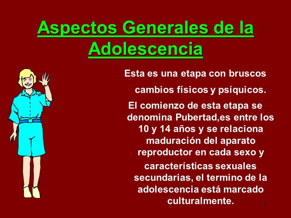 2 Aspectos Generales de la Adolescencia Esta es una etapa con bruscos cambios físicos y psíquicos. El comienzo de esta etapa se denomina Pubertad,es e
