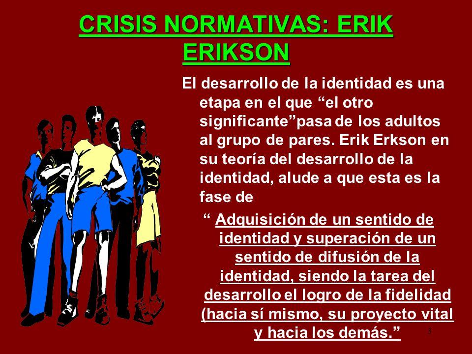 3 CRISIS NORMATIVAS: ERIK ERIKSON El desarrollo de la identidad es una etapa en el que el otro significantepasa de los adultos al grupo de pares. Erik