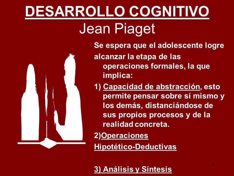 9 DESARROLLO COGNITIVO Jean Piaget Se espera que el adolescente logre alcanzar la etapa de las operaciones formales, la que implica: 1) Capacidad de a