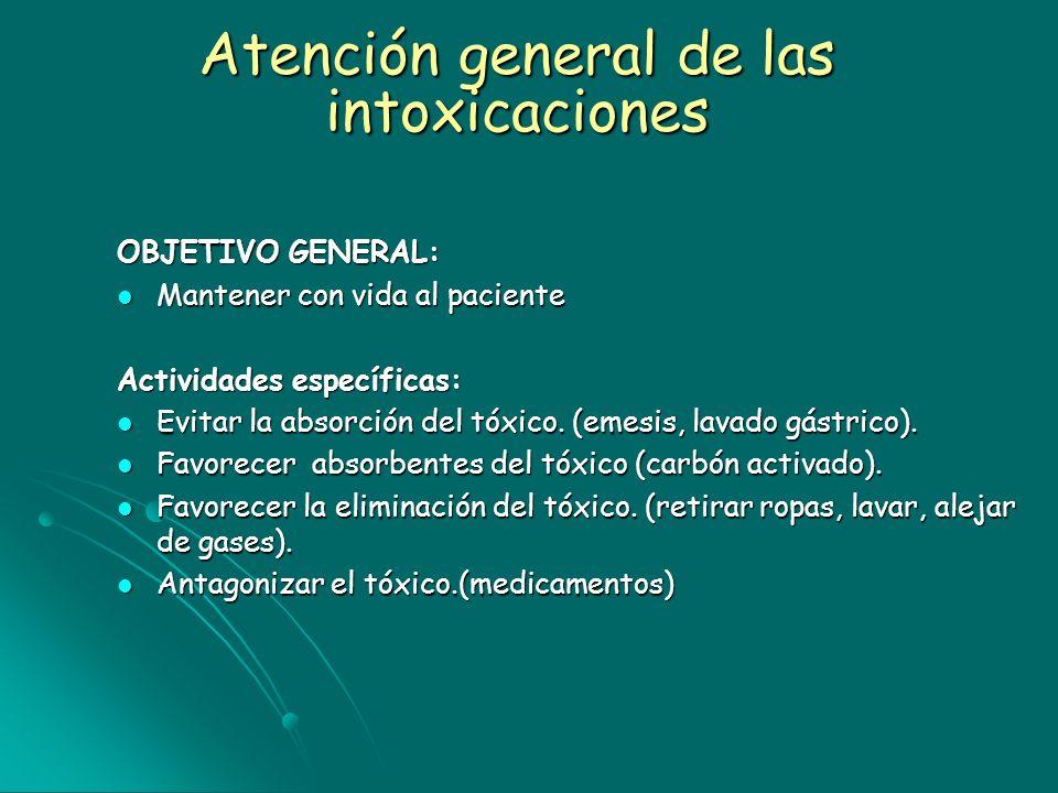 Atención general de las intoxicaciones OBJETIVO GENERAL: Mantener con vida al paciente Mantener con vida al paciente Actividades específicas: Evitar l
