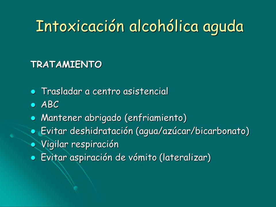 Intoxicación alcohólica aguda TRATAMIENTO Trasladar a centro asistencial Trasladar a centro asistencial ABC ABC Mantener abrigado (enfriamiento) Mante