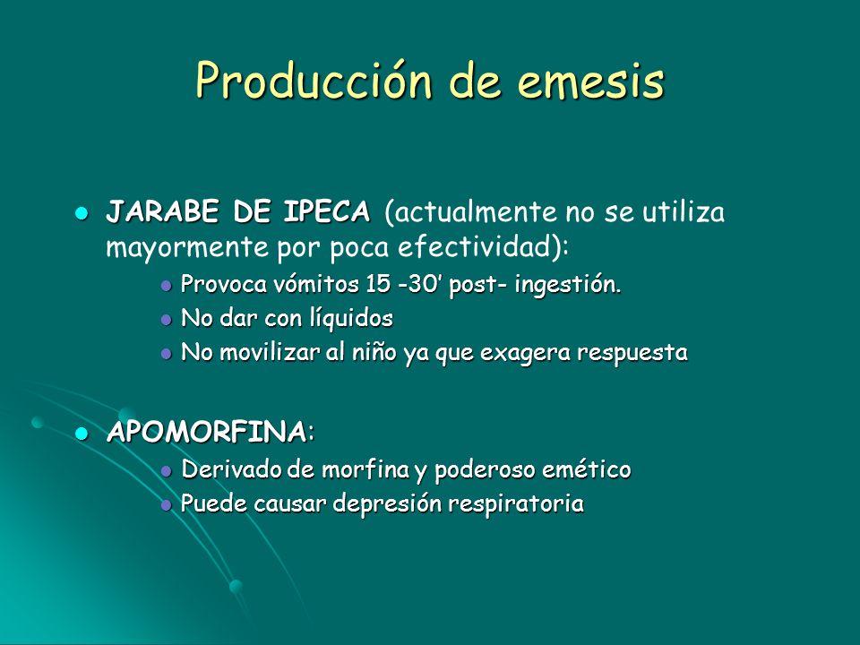 Producción de emesis JARABE DE IPECA JARABE DE IPECA (actualmente no se utiliza mayormente por poca efectividad): Provoca vómitos 15 -30 post- ingesti