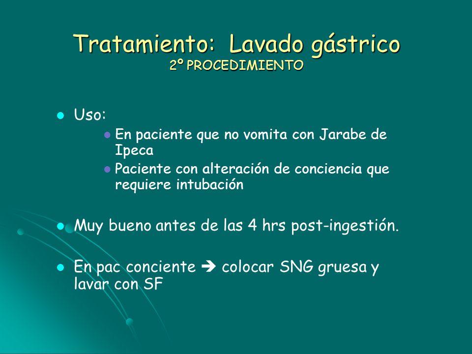 Tratamiento: Lavado gástrico 2º PROCEDIMIENTO Uso: En paciente que no vomita con Jarabe de Ipeca Paciente con alteración de conciencia que requiere in