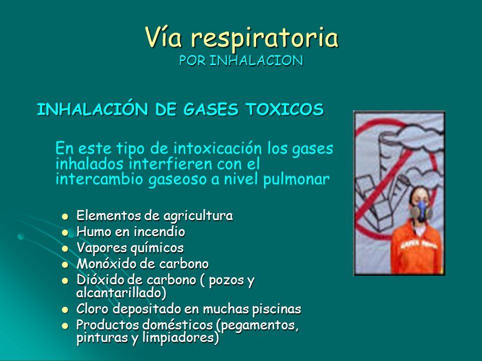 Vía respiratoria POR INHALACION INHALACIÓN DE GASES TOXICOS En este tipo de intoxicación los gases inhalados interfieren con el intercambio gaseoso a