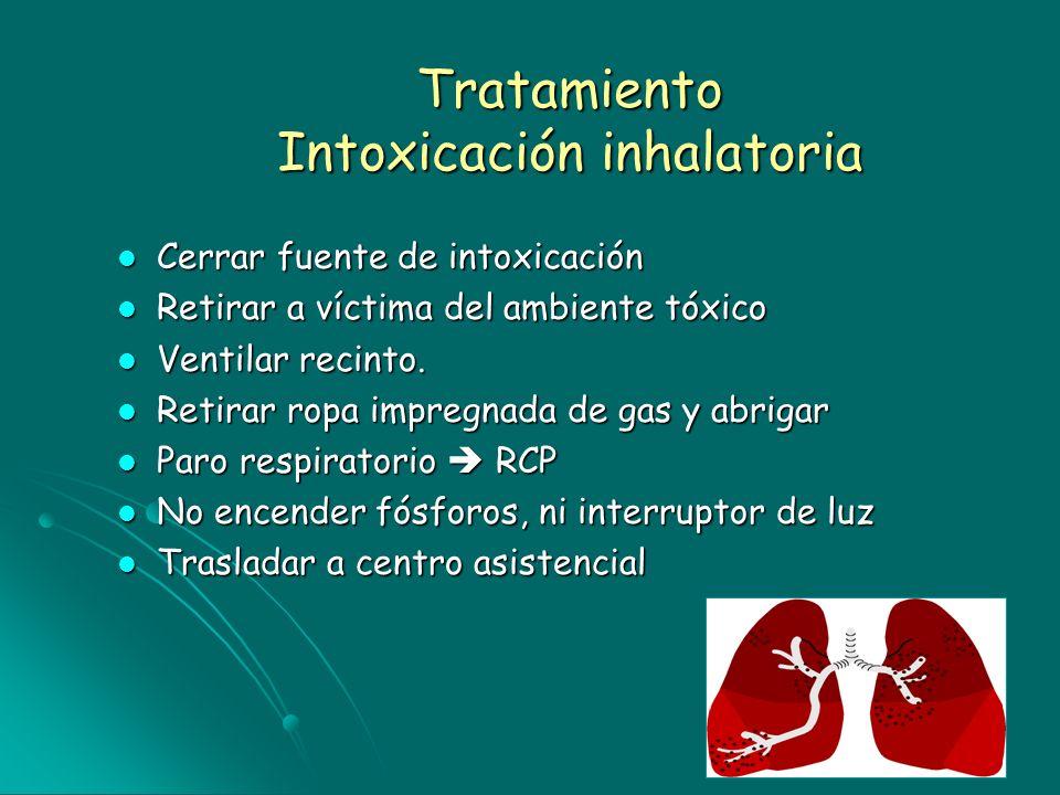 Tratamiento Intoxicación inhalatoria Cerrar fuente de intoxicación Cerrar fuente de intoxicación Retirar a víctima del ambiente tóxico Retirar a vícti