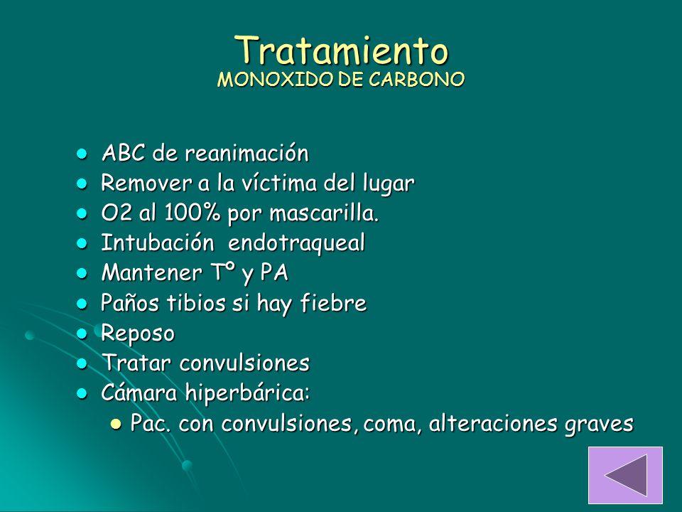 Tratamiento MONOXIDO DE CARBONO ABC de reanimación ABC de reanimación Remover a la víctima del lugar Remover a la víctima del lugar O2 al 100% por mas