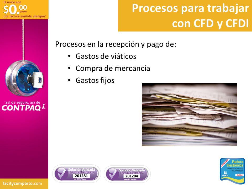 Procesos en la recepción y pago de: Gastos de viáticos Compra de mercancía Gastos fijos Procesos para trabajar con CFD y CFDI