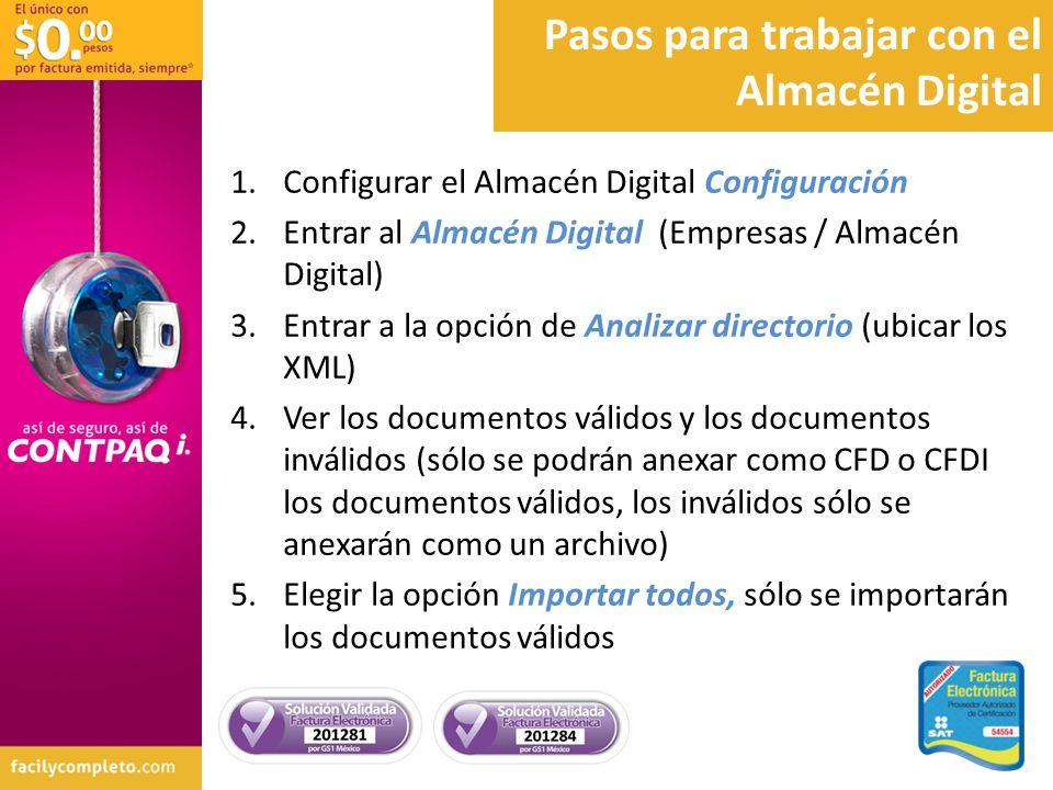 Pasos para trabajar con el Almacén Digital 1.Configurar el Almacén Digital Configuración 2.Entrar al Almacén Digital (Empresas / Almacén Digital) 3.En