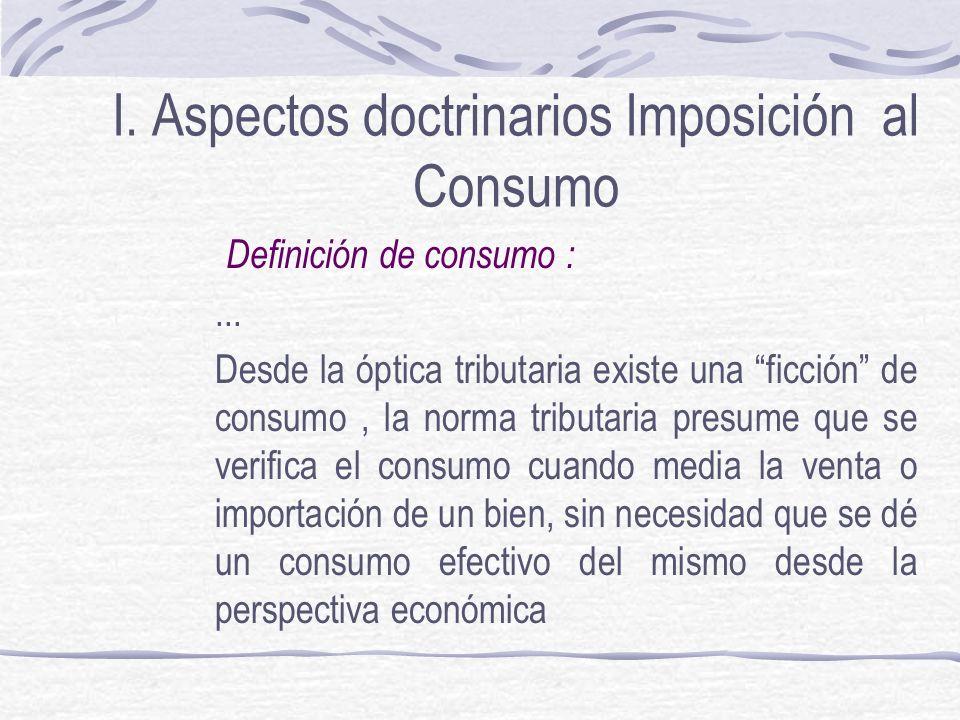 I.Aspectos doctrinarios Imposición al Consumo Definición de consumo :...