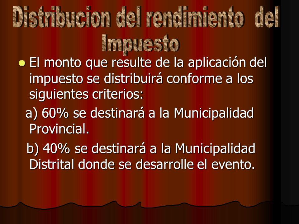 El pago del impuesto debera realizarse mensualmente en la Municipalidad Provincial respectiva el monto que le corresponda dentro de los 12 dias habile