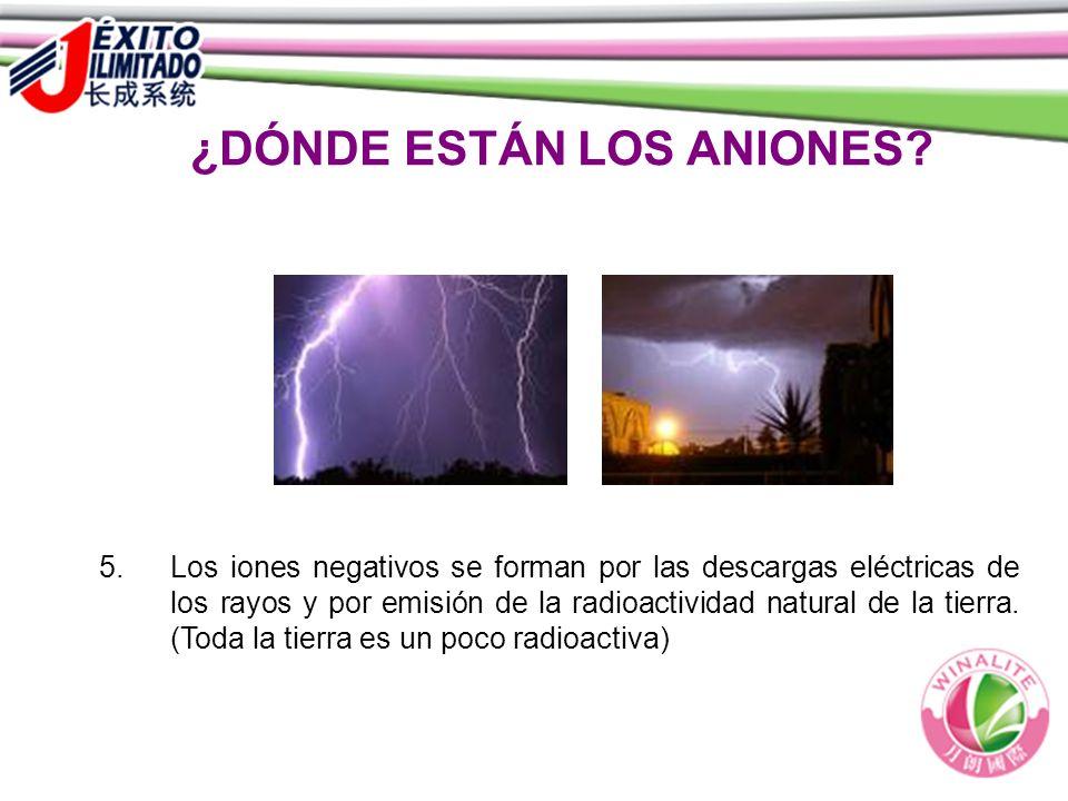 ¿DÓNDE ESTÁN LOS ANIONES? 5. Los iones negativos se forman por las descargas eléctricas de los rayos y por emisión de la radioactividad natural de la