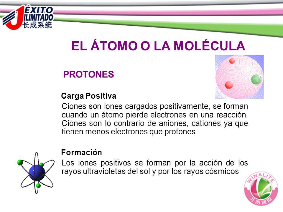 EL ÁTOMO O LA MOLÉCULA PROTONES Carga Positiva Ciones son iones cargados positivamente, se forman cuando un átomo pierde electrones en una reacción. C