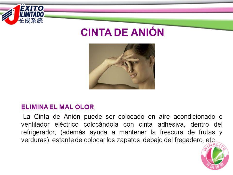 CINTA DE ANIÓN ELIMINA EL MAL OLOR La Cinta de Anión puede ser colocado en aire acondicionado o ventilador eléctrico colocándola con cinta adhesiva, d