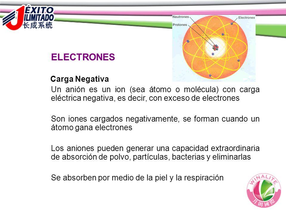 ELECTRONES Carga Negativa Un anión es un ion (sea átomo o molécula) con carga eléctrica negativa, es decir, con exceso de electrones Son iones cargado