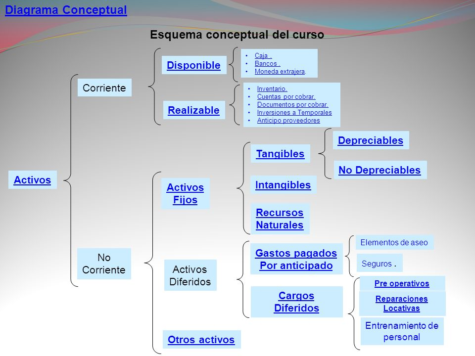 Activos Corriente No Corriente Realizable Disponible Otros activos Activos Diferidos Activos Fijos Tangibles Intangibles Recursos Naturales Cargos Dif