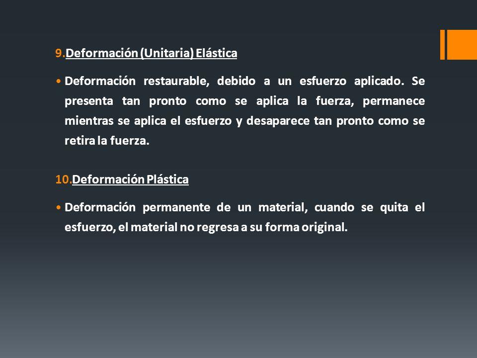 9.Deformación (Unitaria) Elástica Deformación restaurable, debido a un esfuerzo aplicado. Se presenta tan pronto como se aplica la fuerza, permanece m