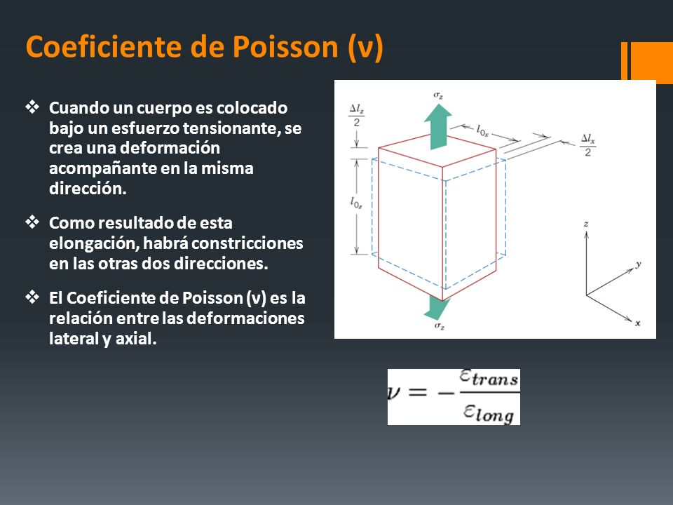 Coeficiente de Poisson (ν) Cuando un cuerpo es colocado bajo un esfuerzo tensionante, se crea una deformación acompañante en la misma dirección. Como