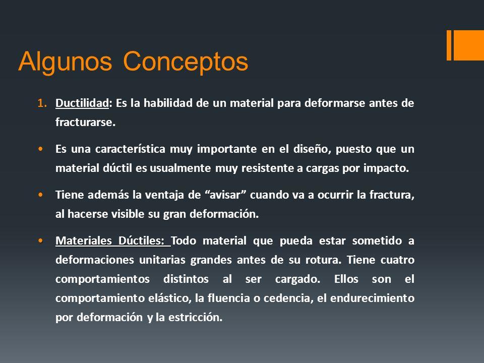 Algunos Conceptos 1.Ductilidad: Es la habilidad de un material para deformarse antes de fracturarse. Es una característica muy importante en el diseño