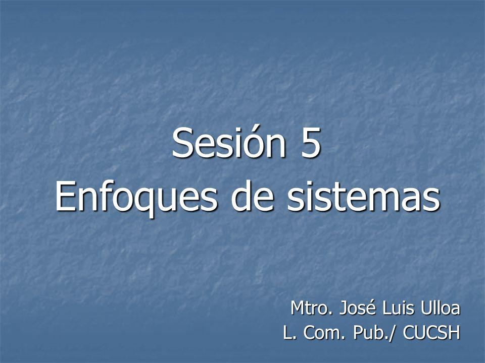 Sesión 5 Enfoques de sistemas Mtro. José Luis Ulloa L. Com. Pub./ CUCSH