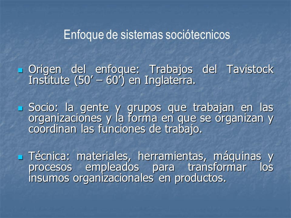 Enfoque de sistemas sociótecnicos Origen del enfoque: Trabajos del Tavistock Institute (50 – 60) en Inglaterra. Origen del enfoque: Trabajos del Tavis