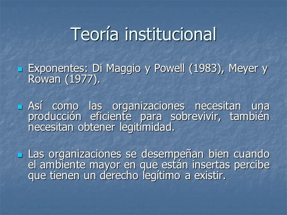 Teoría institucional Exponentes: Di Maggio y Powell (1983), Meyer y Rowan (1977). Exponentes: Di Maggio y Powell (1983), Meyer y Rowan (1977). Así com