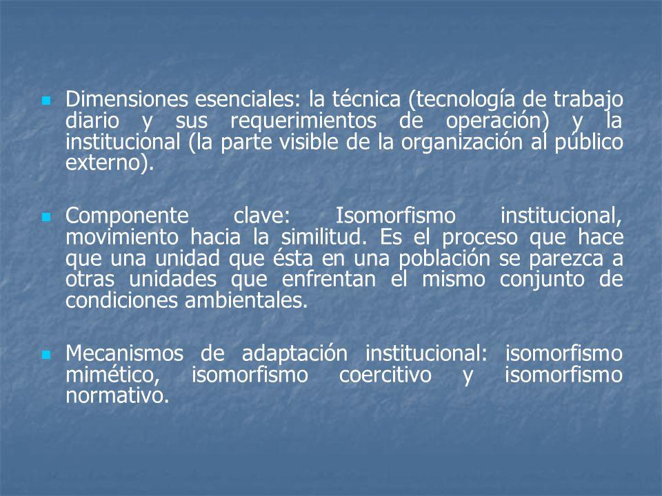 Dimensiones esenciales: la técnica (tecnología de trabajo diario y sus requerimientos de operación) y la institucional (la parte visible de la organiz