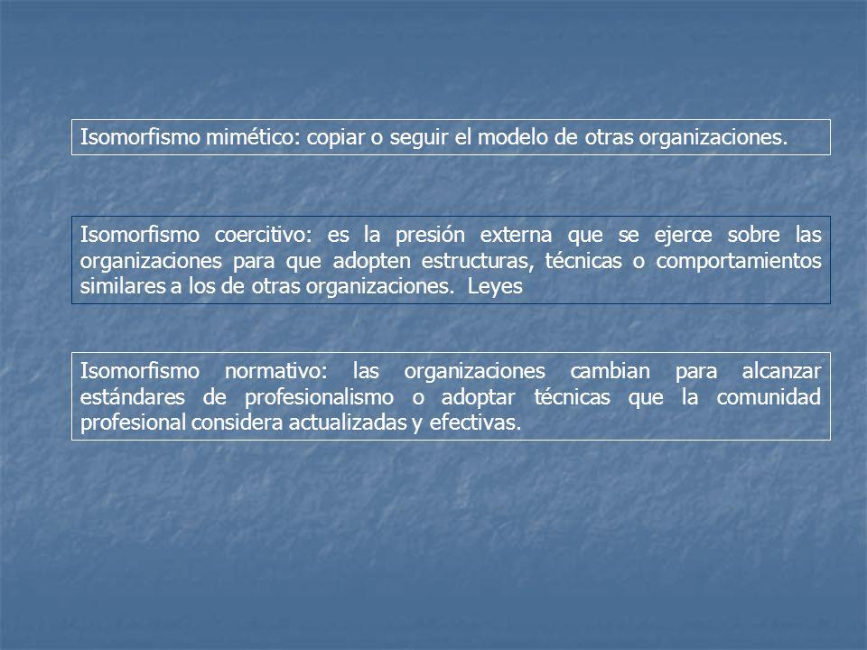 Isomorfismo mimético: copiar o seguir el modelo de otras organizaciones. Isomorfismo coercitivo: es la presión externa que se ejerce sobre las organiz