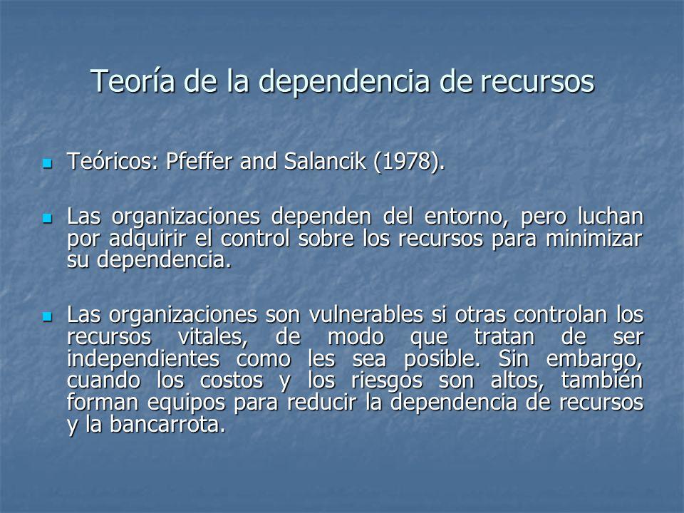 Teoría de la dependencia de recursos Teóricos: Pfeffer and Salancik (1978). Teóricos: Pfeffer and Salancik (1978). Las organizaciones dependen del ent