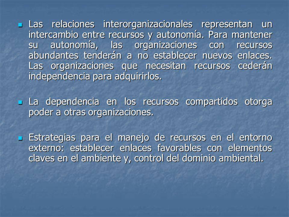 Las relaciones interorganizacionales representan un intercambio entre recursos y autonomía. Para mantener su autonomía, las organizaciones con recurso