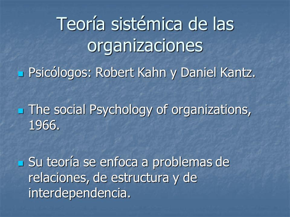 Teoría sistémica de las organizaciones Psicólogos: Robert Kahn y Daniel Kantz. Psicólogos: Robert Kahn y Daniel Kantz. The social Psychology of organi