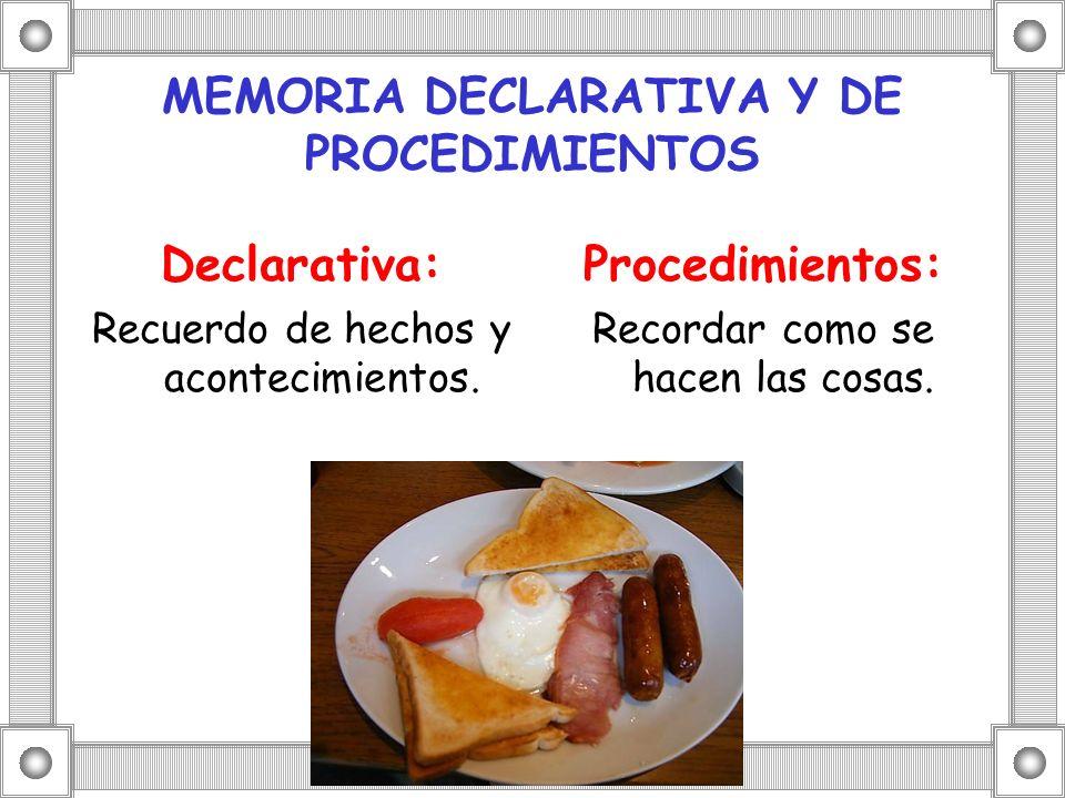 MEMORIA DECLARATIVA Y DE PROCEDIMIENTOS Declarativa: Recuerdo de hechos y acontecimientos. Procedimientos: Recordar como se hacen las cosas.