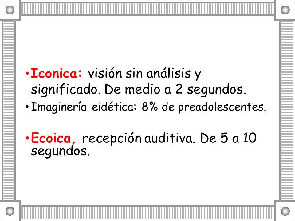 Iconica: visión sin análisis y significado. De medio a 2 segundos. Imaginería eidética: 8% de preadolescentes. Ecoica, recepción auditiva. De 5 a 10 s