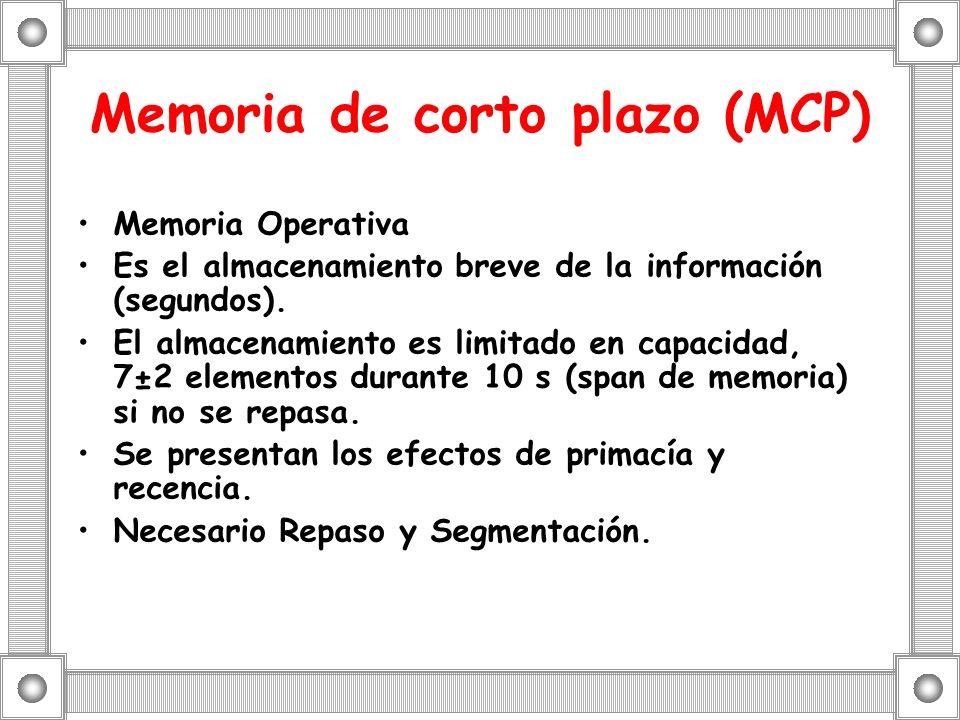 Memoria de corto plazo (MCP) Memoria Operativa Es el almacenamiento breve de la información (segundos). El almacenamiento es limitado en capacidad, 7±