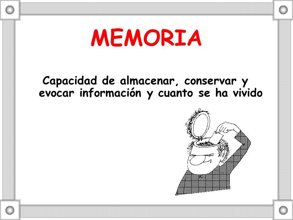MEMORIA Capacidad de almacenar, conservar y evocar información y cuanto se ha vivido