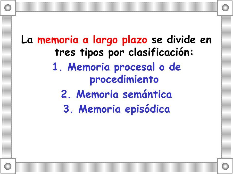 La memoria a largo plazo se divide en tres tipos por clasificación: 1. Memoria procesal o de procedimiento 2. Memoria semántica 3. Memoria episódica