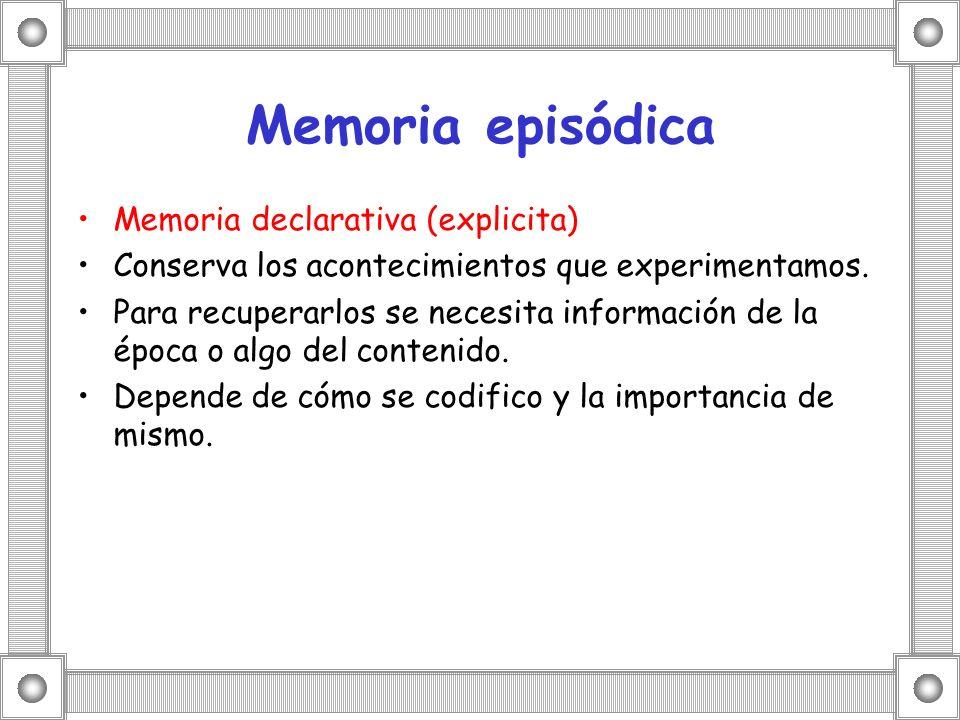 Memoria episódica Memoria declarativa (explicita) Conserva los acontecimientos que experimentamos. Para recuperarlos se necesita información de la épo