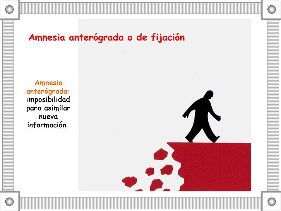 Amnesia anterógrada o de fijación Amnesia anterógrada: imposibilidad para asimilar nueva información.