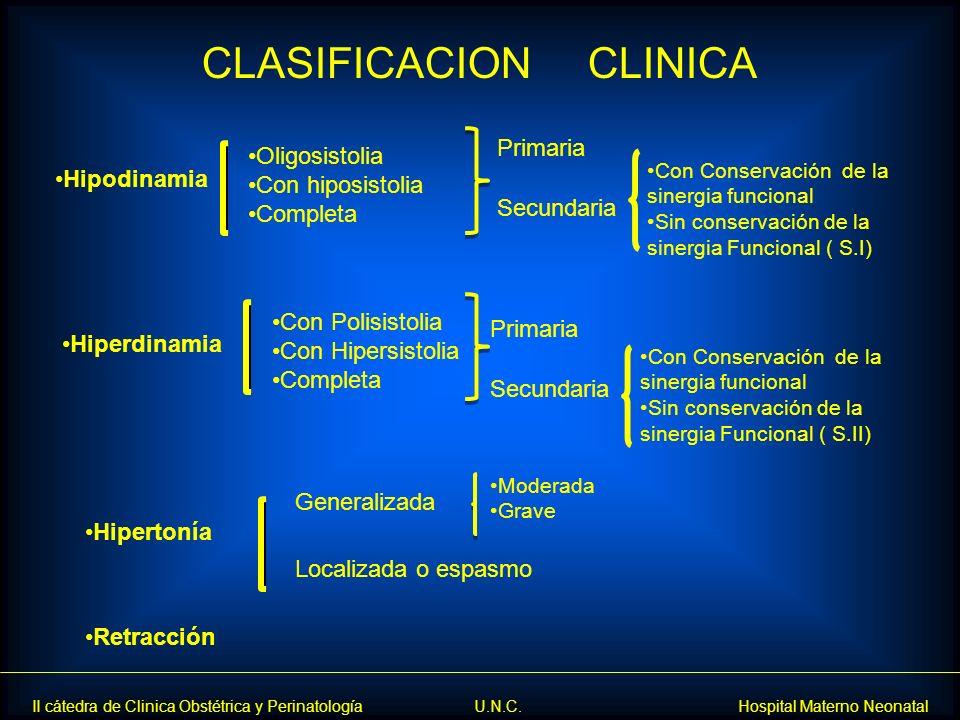 II cátedra de Clinica Obstétrica y Perinatología U.N.C. Hospital Materno Neonatal Hipodinamia Oligosistolia Con hiposistolia Completa Primaria Secunda