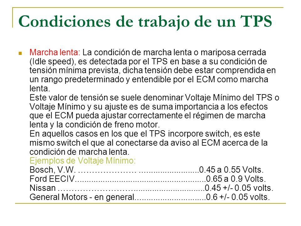 Condiciones de trabajo de un TPS Marcha lenta: La condición de marcha lenta o mariposa cerrada (Idle speed), es detectada por el TPS en base a su cond