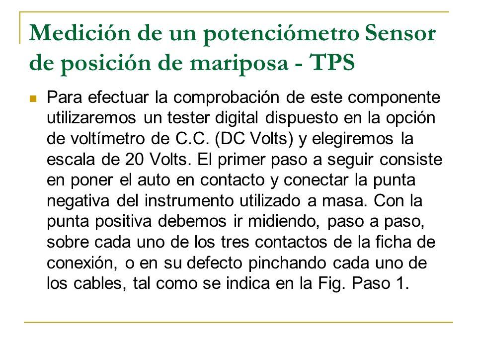 Medición de un potenciómetro Sensor de posición de mariposa - TPS Para efectuar la comprobación de este componente utilizaremos un tester digital disp