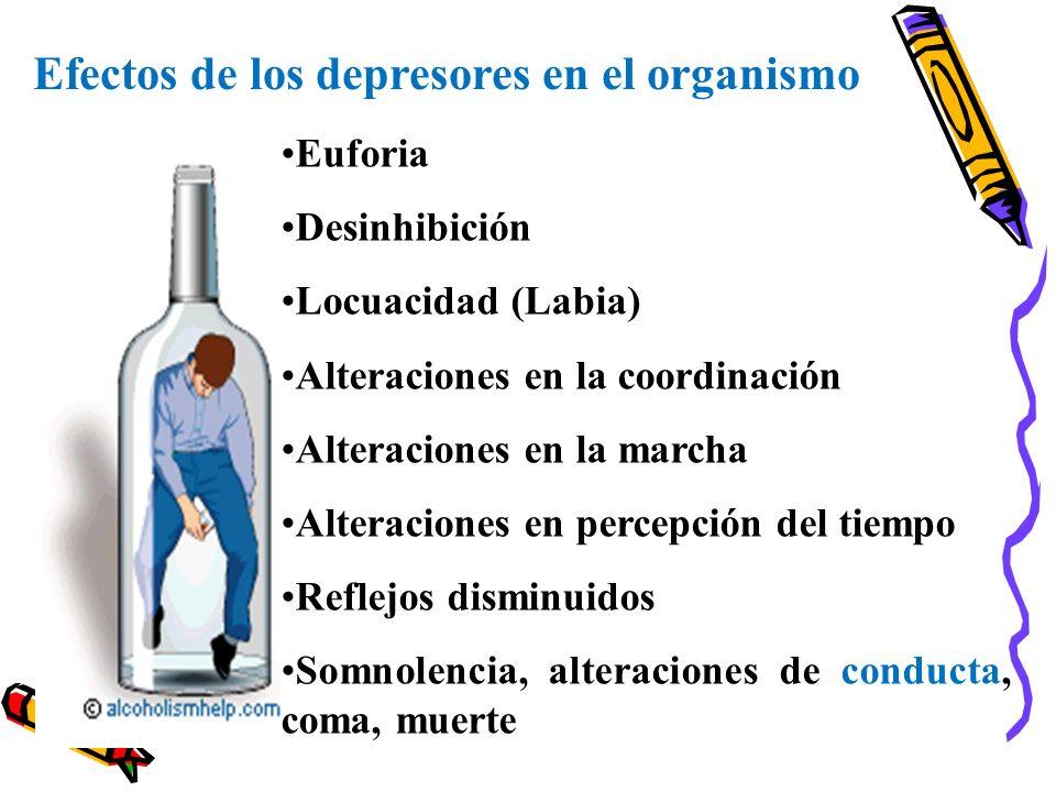 Efectos de los depresores en el organismo Euforia Desinhibición Locuacidad (Labia) Alteraciones en la coordinación Alteraciones en la marcha Alteracio