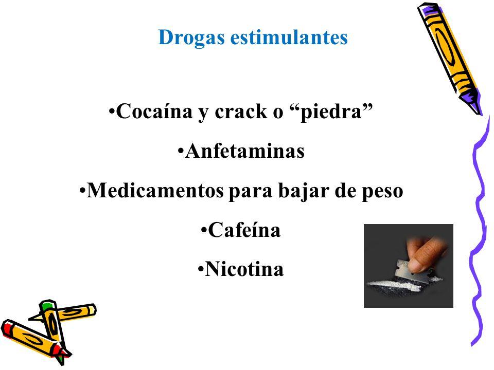 Drogas estimulantes Cocaína y crack o piedra Anfetaminas Medicamentos para bajar de peso Cafeína Nicotina