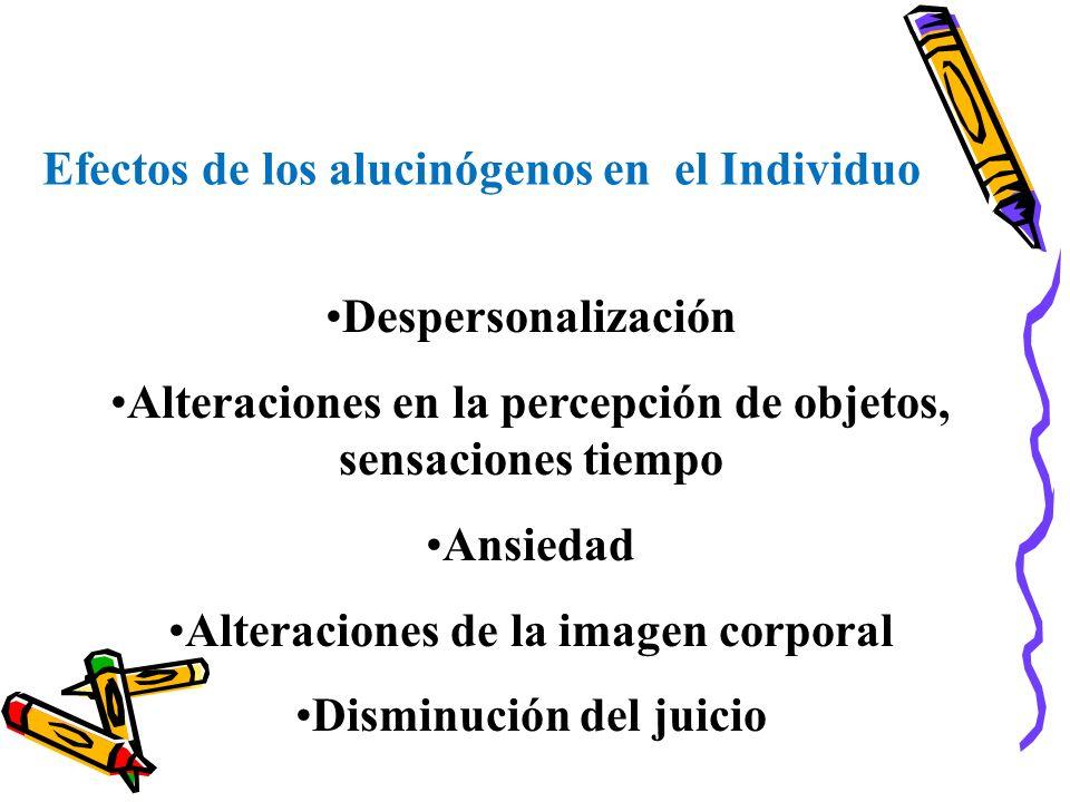 Efectos de los alucinógenos en el Individuo Despersonalización Alteraciones en la percepción de objetos, sensaciones tiempo Ansiedad Alteraciones de l
